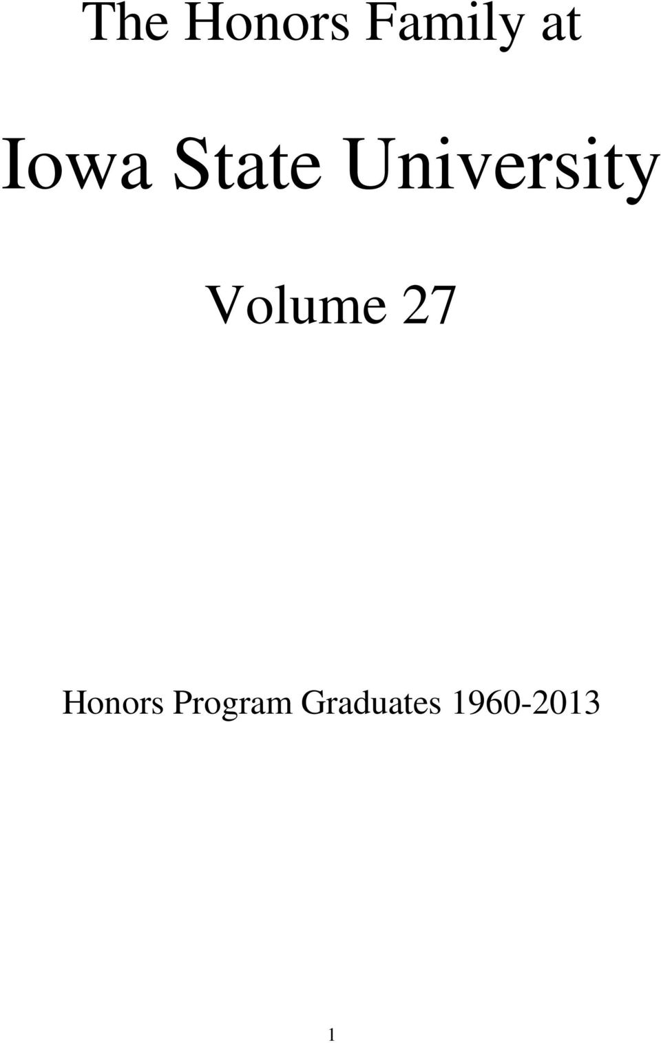 Volume 27 Honors
