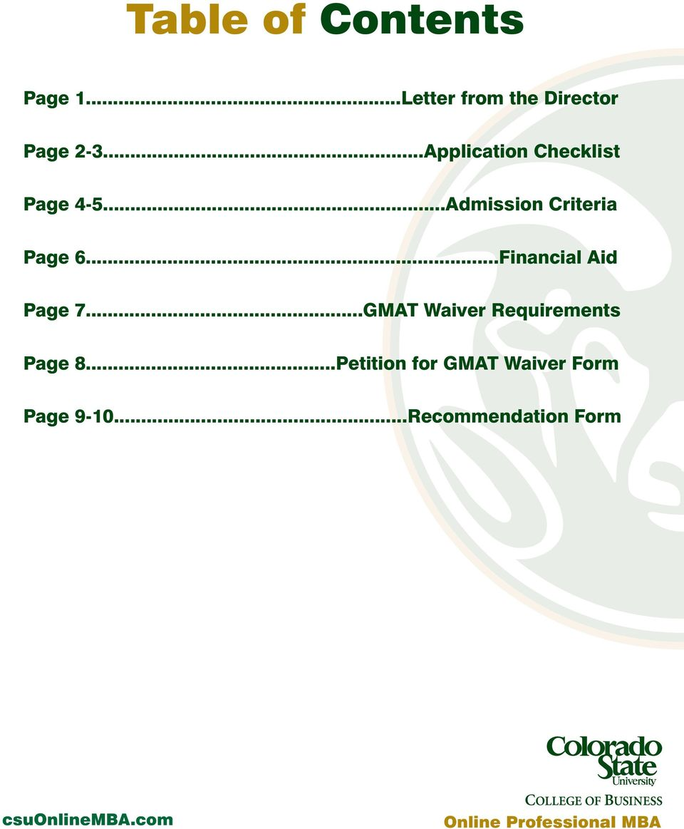..Financial Aid Page 7...GMAT Waiver Requirements Page 8.