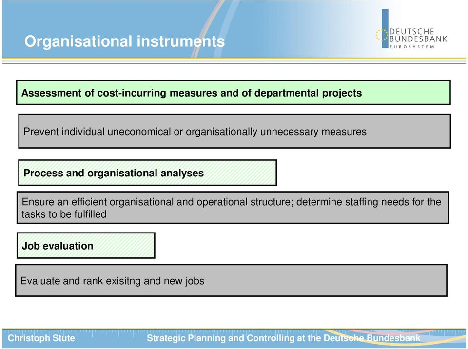 organisational analyses Ensure an efficient organisational and operational structure;