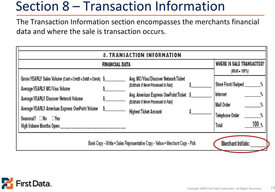 financial data and where the sale is transaction