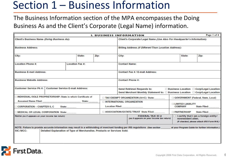 and the Client s Corporate (Legal Name) information.