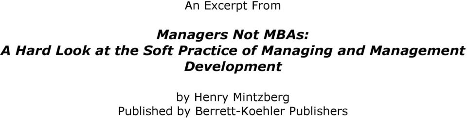 Management Development by Henry Mintzberg