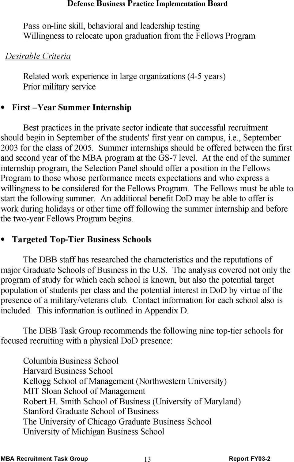 Summer internships should be offered between the first and second year of the MBA program at the GS-7 level.