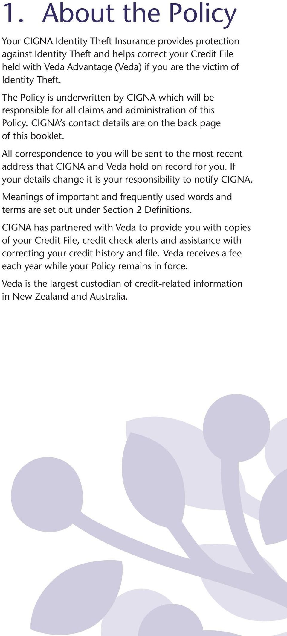 All correspondence to you will be sent to the most recent address that CIGNA and Veda hold on record for you. If your details change it is your responsibility to notify CIGNA.