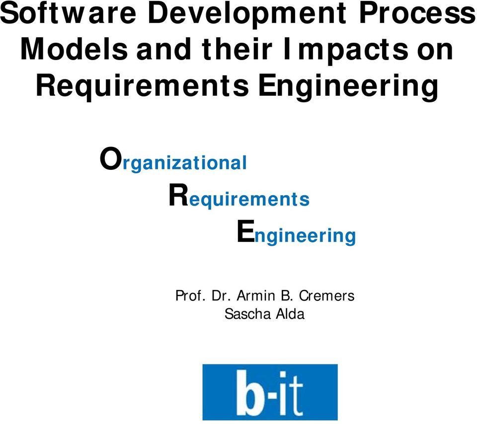 Engineering Organizational Requirements