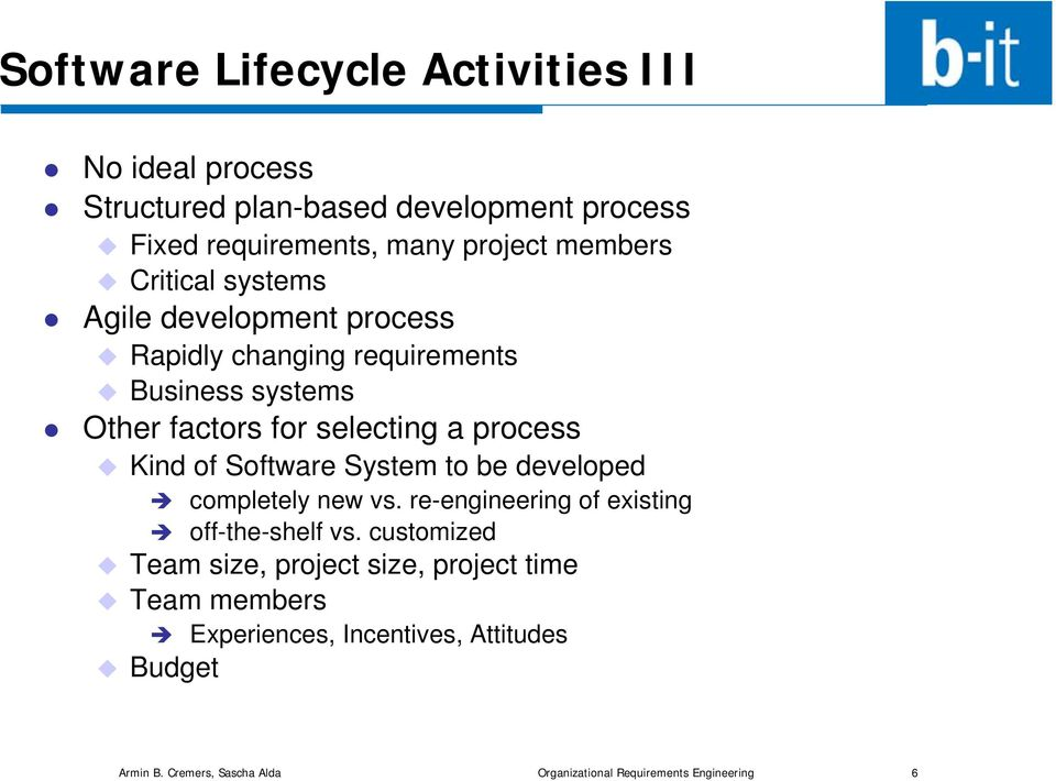 Software System to be developed completely new vs. re-engineering of existing off-the-shelf vs.