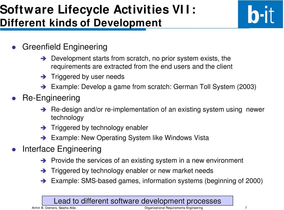 Triggered by technology enabler Example: New Operating System like Windows Vista Interface Engineering Provide the services of an existing system in a new environment Triggered by technology enabler