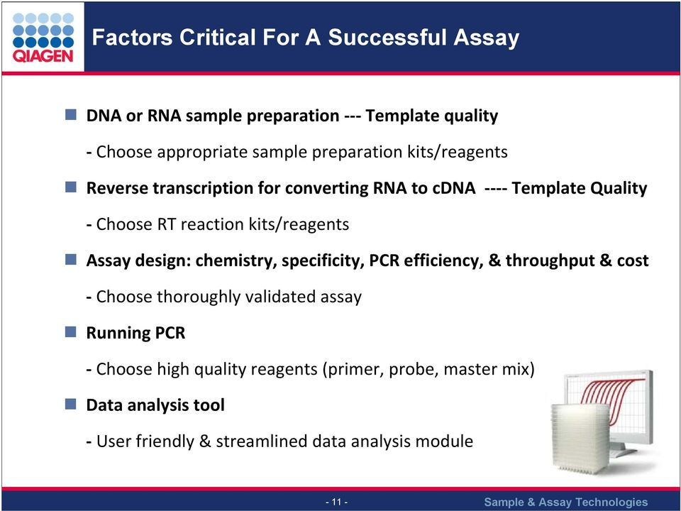 kits/reagents Assay design: chemistry, specificity, PCR efficiency, & throughput & cost Choose thoroughly validated assay