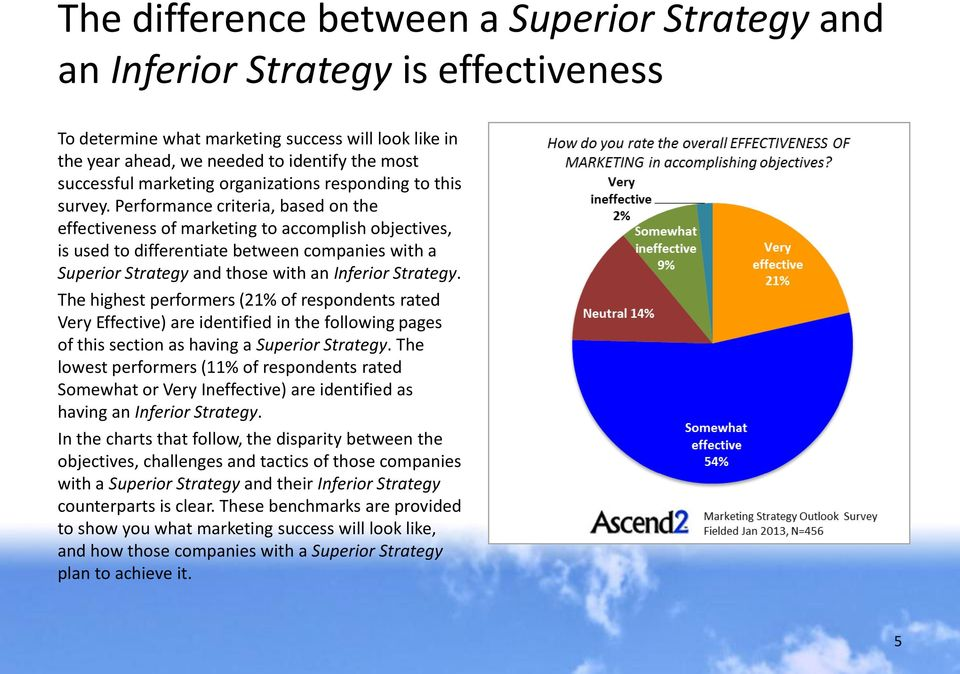 Performance criteria, based on the effectiveness of marketing to accomplish objectives, is used to differentiate between companies with a Superior Strategy and those with an Inferior Strategy.