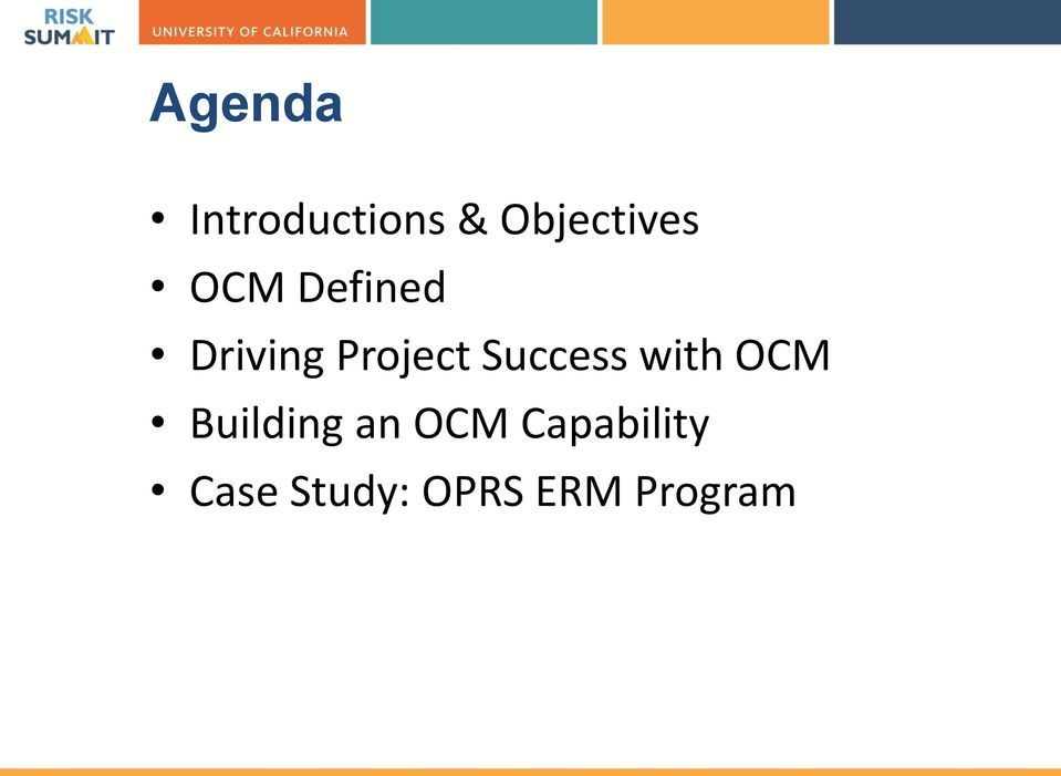 Success with OCM Building an OCM