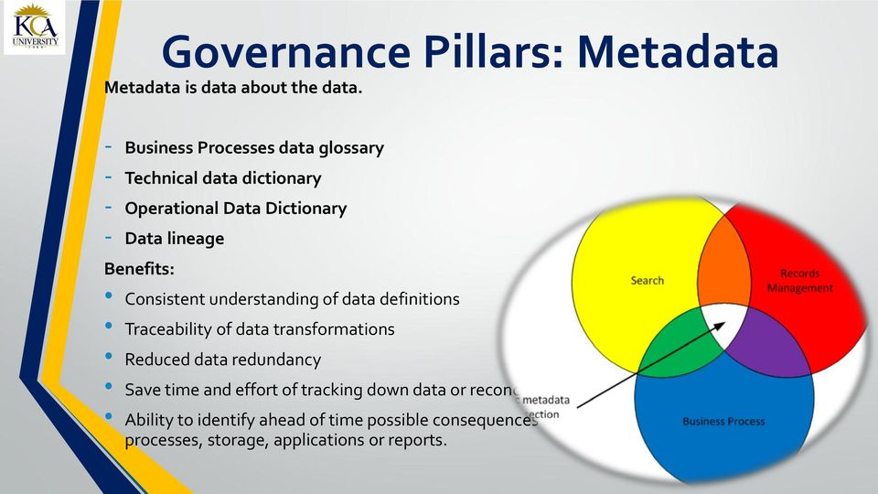 Consistent understanding of data definitions Traceability of data transformations Reduced data redundancy Save time and