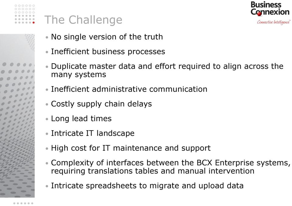 lead times Intricate IT landscape High cost for IT maintenance and support Complexity of interfaces between the BCX