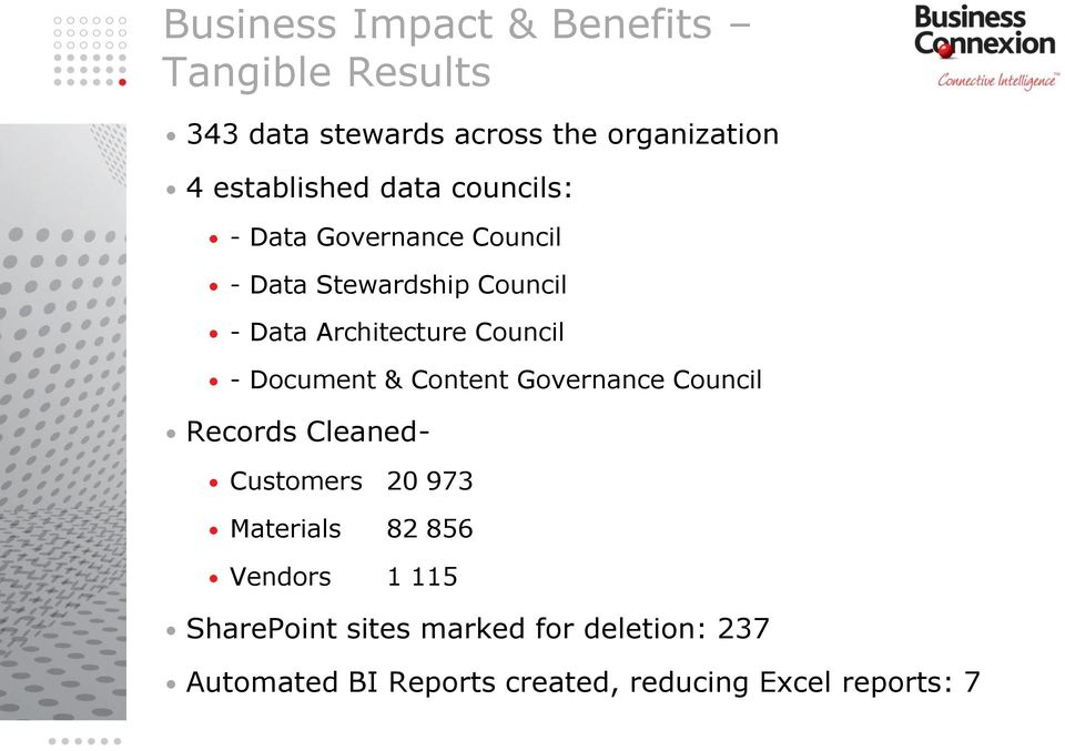 Document & Content Governance Council Records Cleaned- Customers 20 973 Materials 82 856 Vendors 1