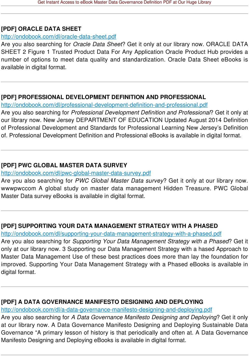 Oracle Data Sheet ebooks is available in [PDF] PROFESSIONAL DEVELOPMENT DEFINITION AND PROFESSIONAL http://ondobook.com/dl/professional-development-definition-and-professional.