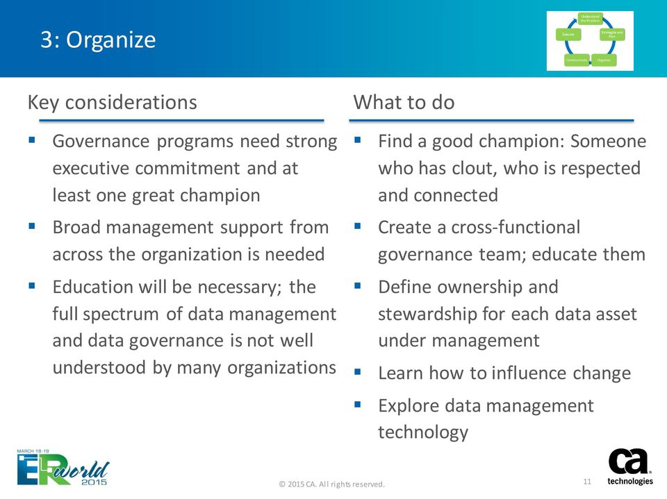 many organizations What to do Find a good champion: Someone who has clout, who is respected and connected Create a cross-functional governance
