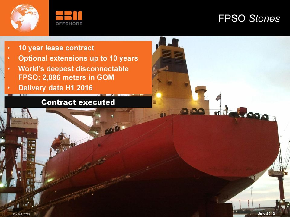disconnectable FPSO; 2,896 meters in GOM