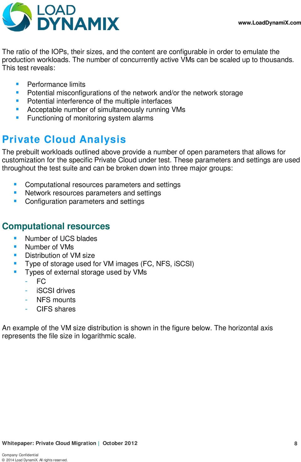 running VMs Functioning of monitoring system alarms Private Cloud Analysis The prebuilt workloads outlined above provide a number of open parameters that allows for customization for the specific