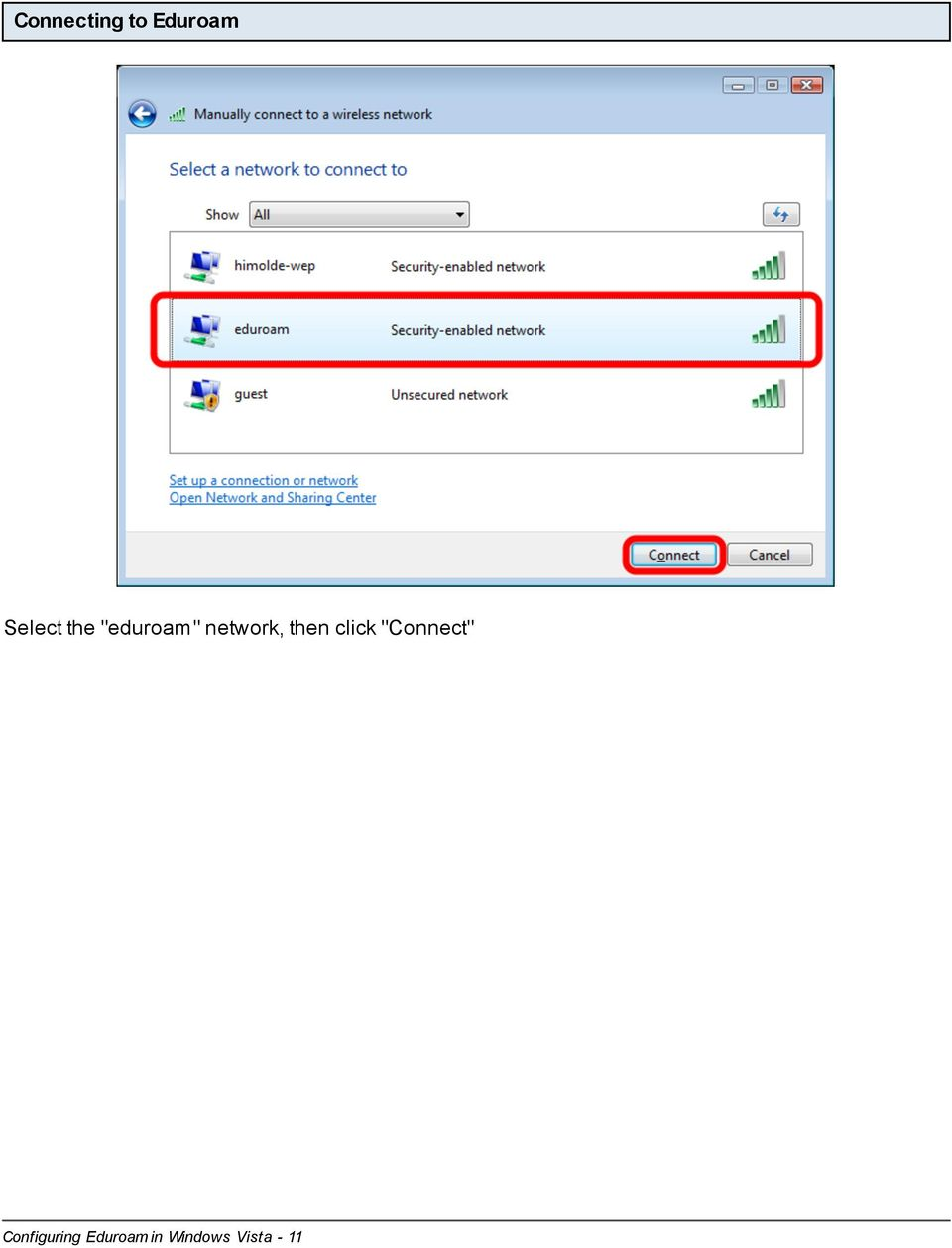 "click ""Connect"" Configuring"