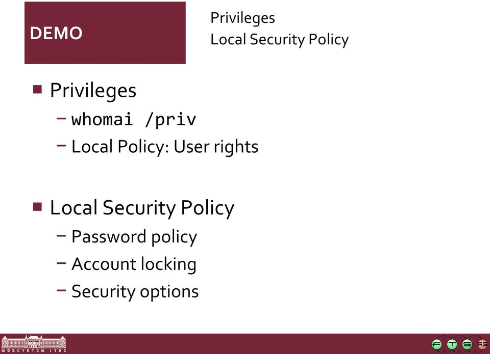 User rights Local Security Policy