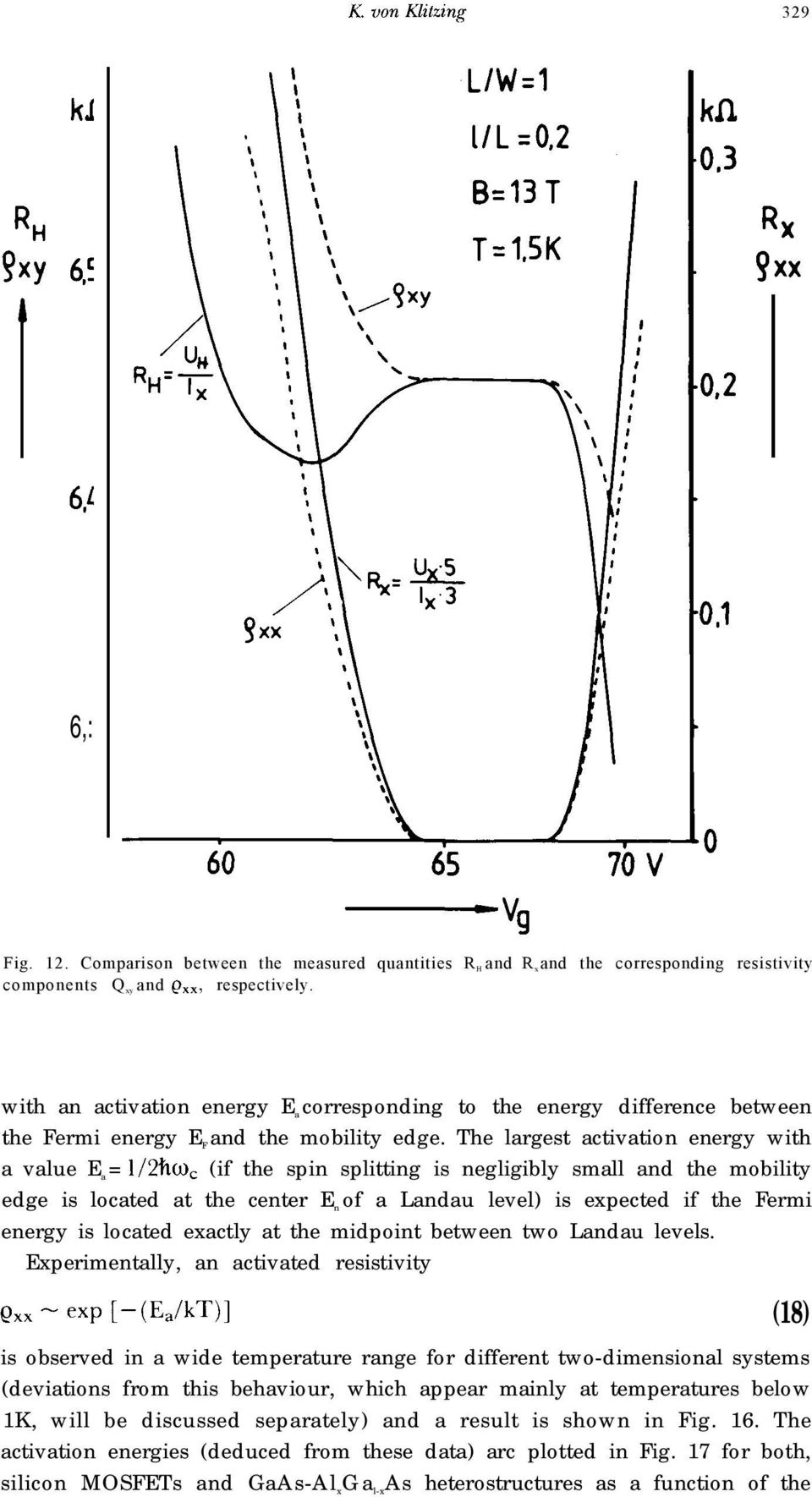 The largest activation energy with a value E a = 1/2h~, (if the spin splitting is negligibly small and the mobility edge is located at the center E n of a Landau level) is expected if the Fermi