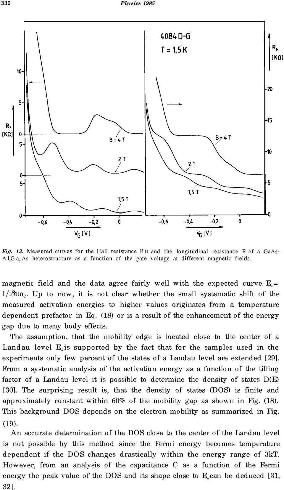 magnetic field and the data agree fairly well with the expected curve E a = 1/2ho,.