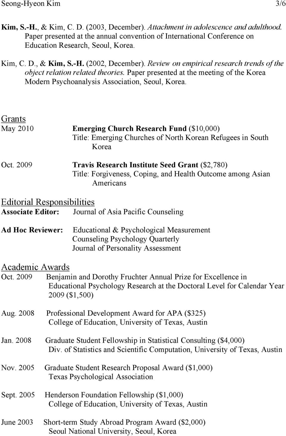 Review on empirical research trends of the object relation related theories. Paper presented at the meeting of the Korea Modern Psychoanalysis Association, Seoul, Korea.