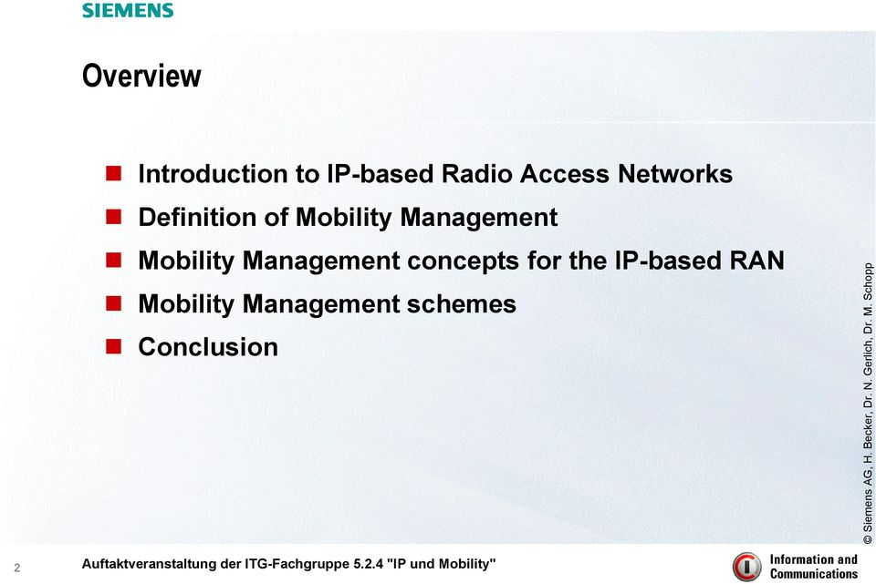 Management Mobility Management concepts for