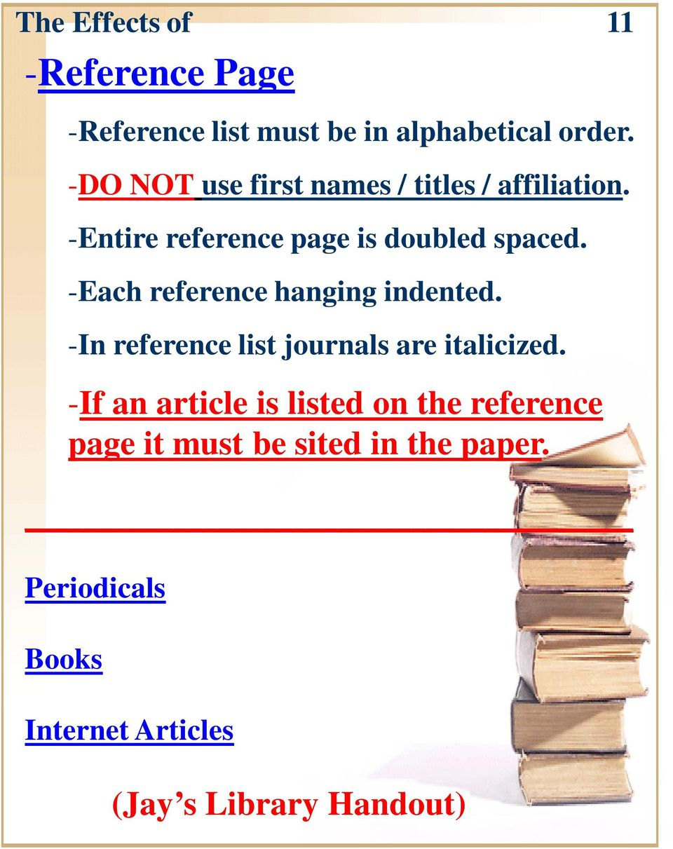 -Each reference hanging indented. -In reference list journals are italicized.