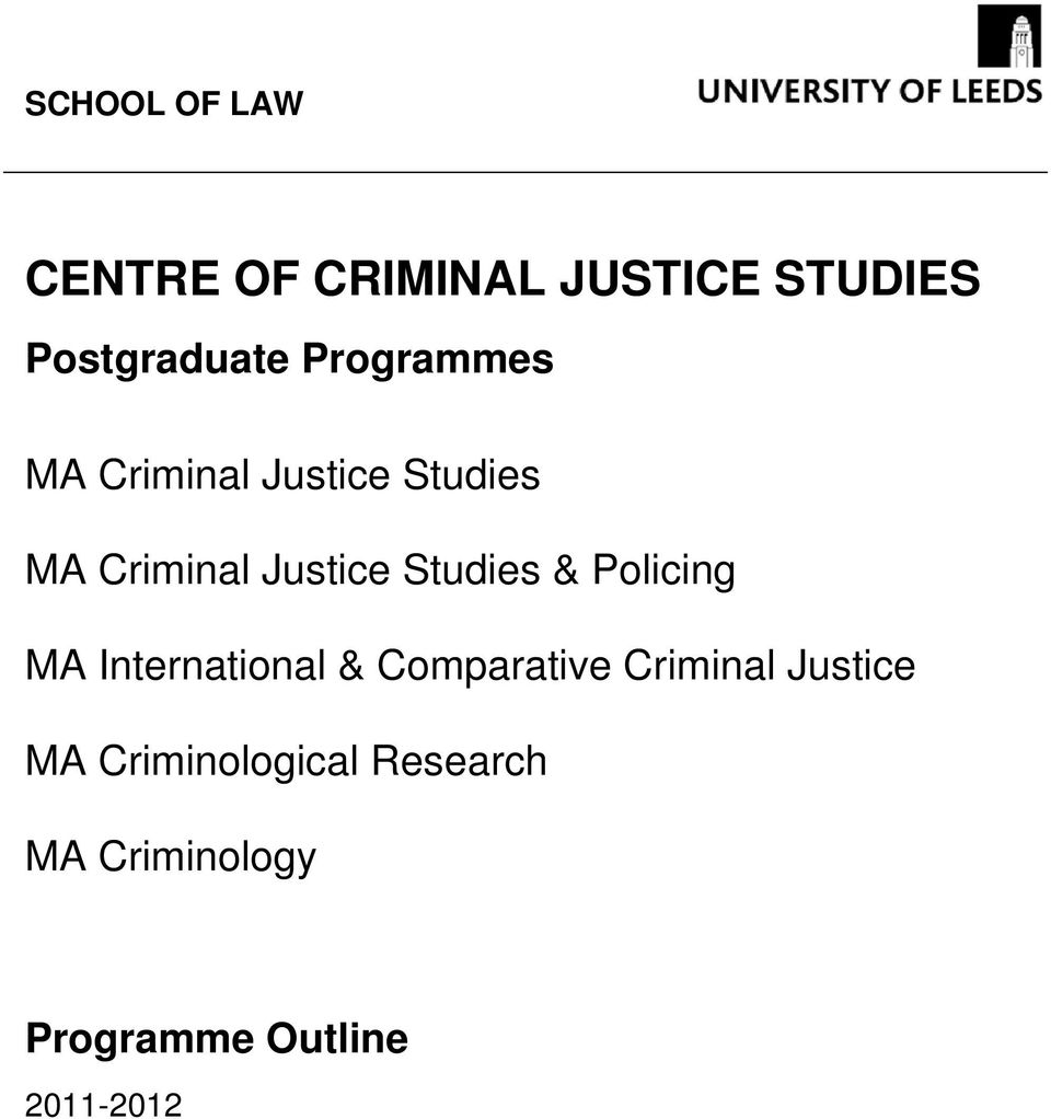 Studies & Policing MA International & Comparative Criminal