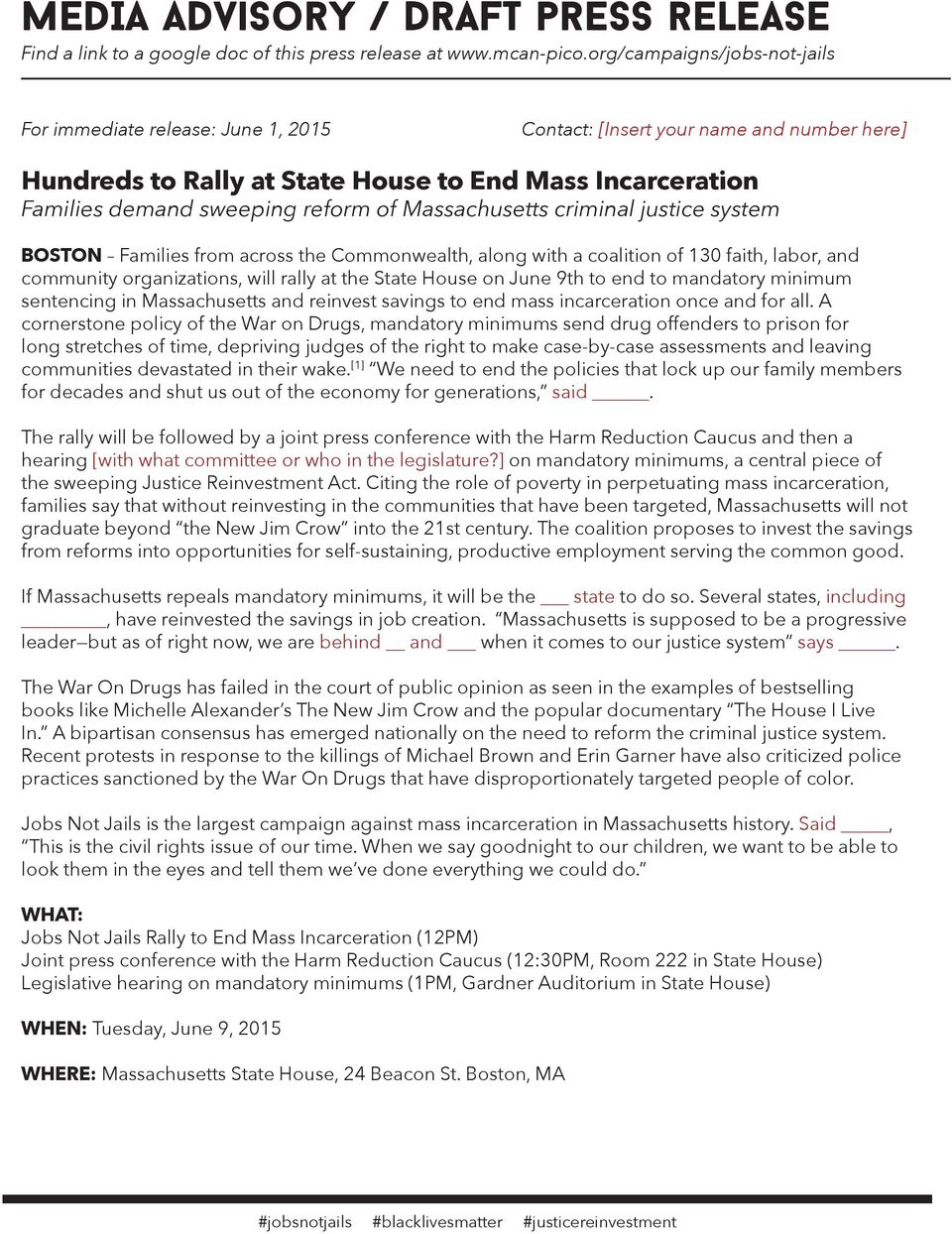 of Massachusetts criminal justice system BOSTON Families from across the Commonwealth, along with a coalition of 130 faith, labor, and community organizations, will rally at the State House on June