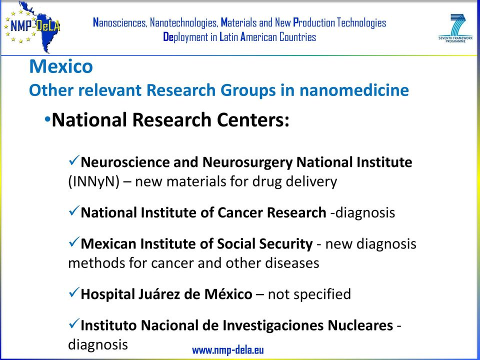 Research -diagnosis Mexican Institute of Social Security - new diagnosis methods for cancer and other