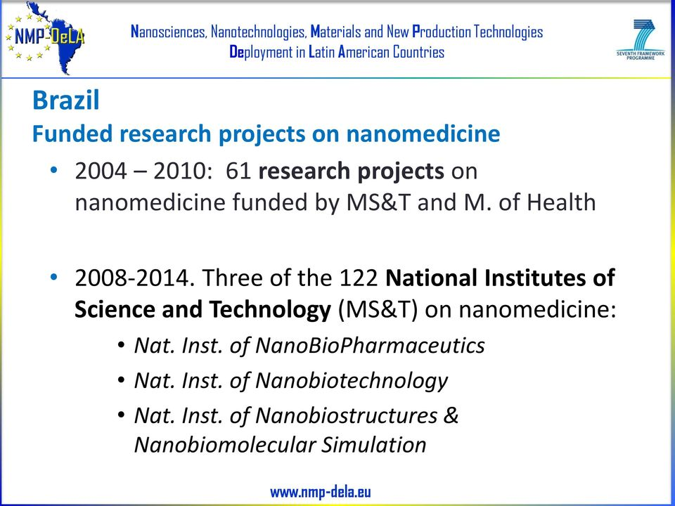 Three of the 122 National Institutes of Science and Technology (MS&T) on nanomedicine: