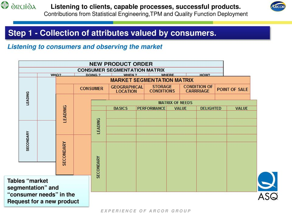 CONSUMER SEGMENTATION MATRIX WHO? DOING? WHEN? WHERE HOW?