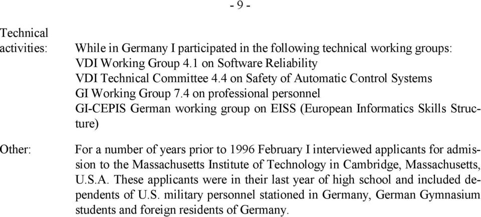 4 on professional personnel GI-CEPIS German working group on EISS (European Informatics Skills Structure) For a number of years prior to 1996 February I interviewed applicants