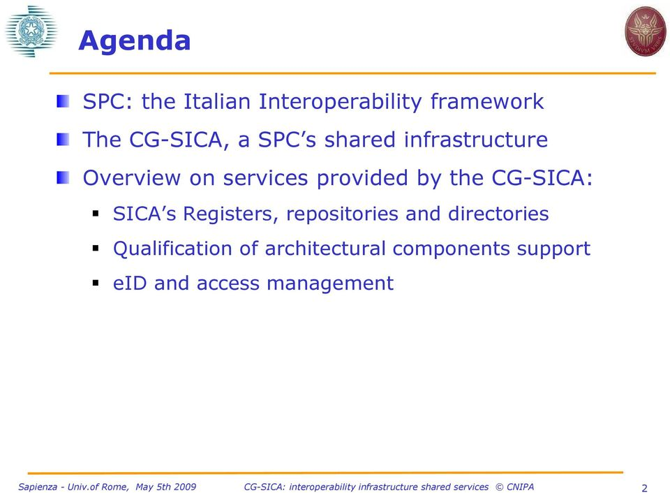CG-SICA: SICA s Registers, repositories and directories
