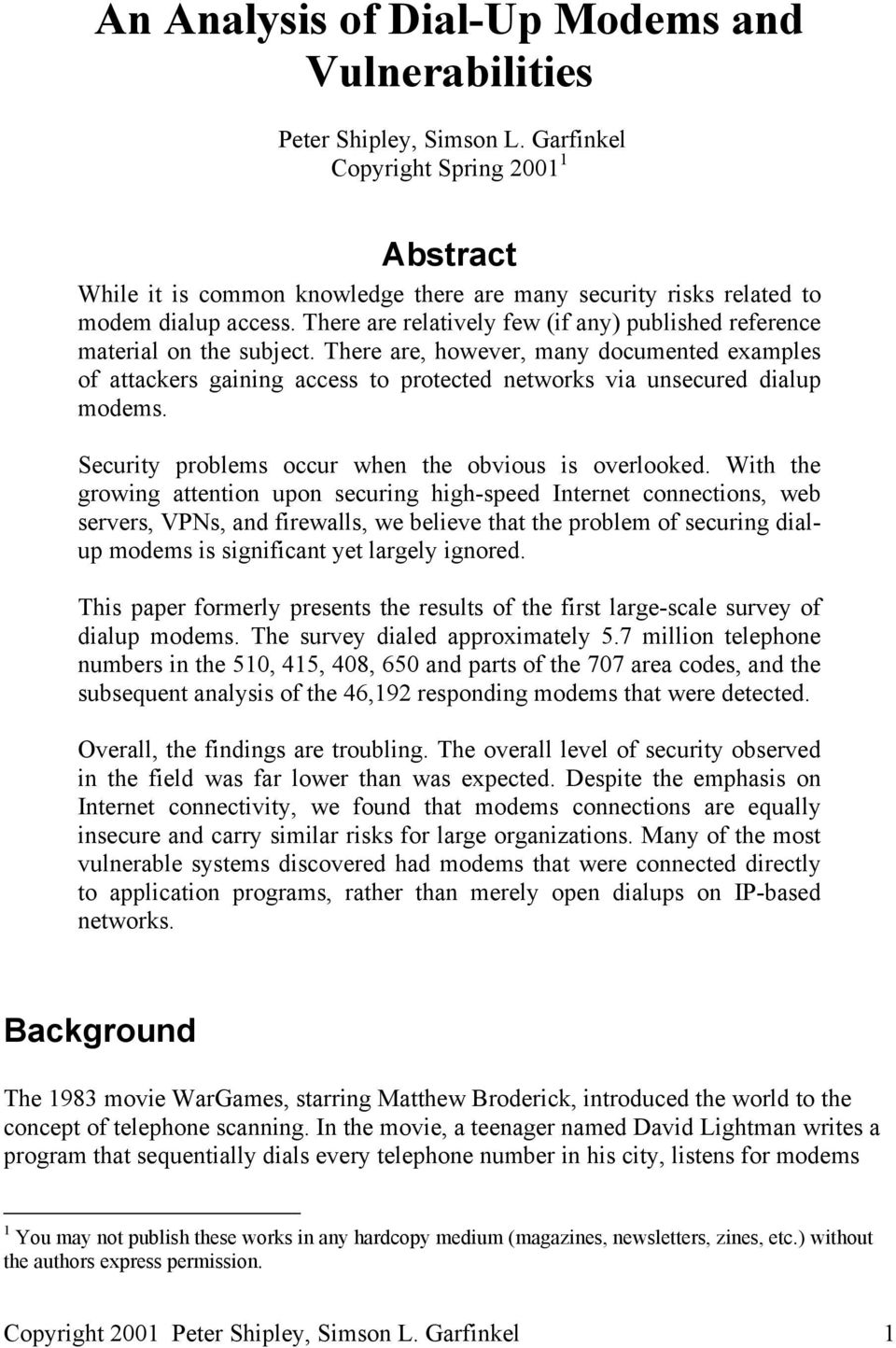 An Analysis of Dial-Up Modems and Vulnerabilities - PDF