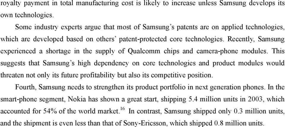 Recently, Samsung experienced a shortage in the supply of Qualcomm chips and camera-phone modules.