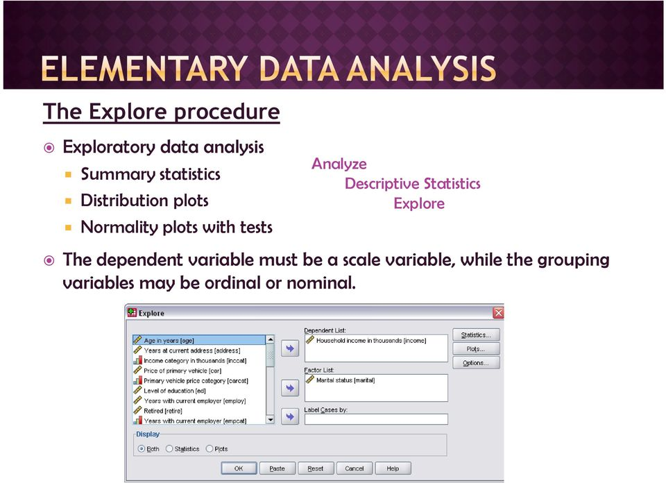 Analyze Descriptive Statistics Explore The dependent variable