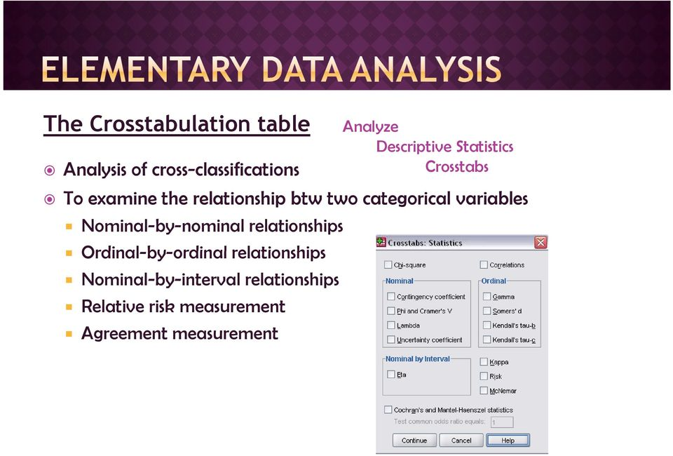 Ordinal-by-ordinal relationships Nominal-by-interval relationships Relative