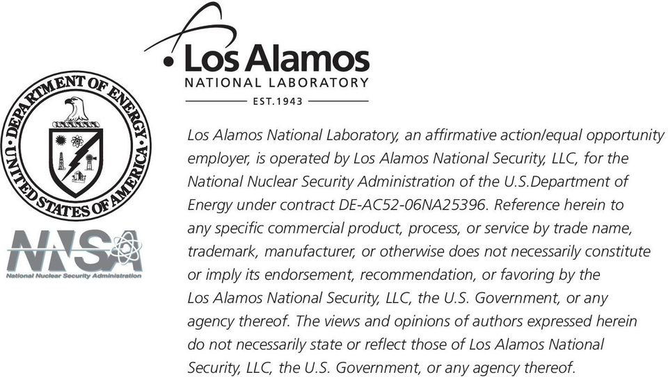 endorsement, recommendation, or favoring by the Los Alamos National Security, LLC, the U.S. Government, or any agency thereof.