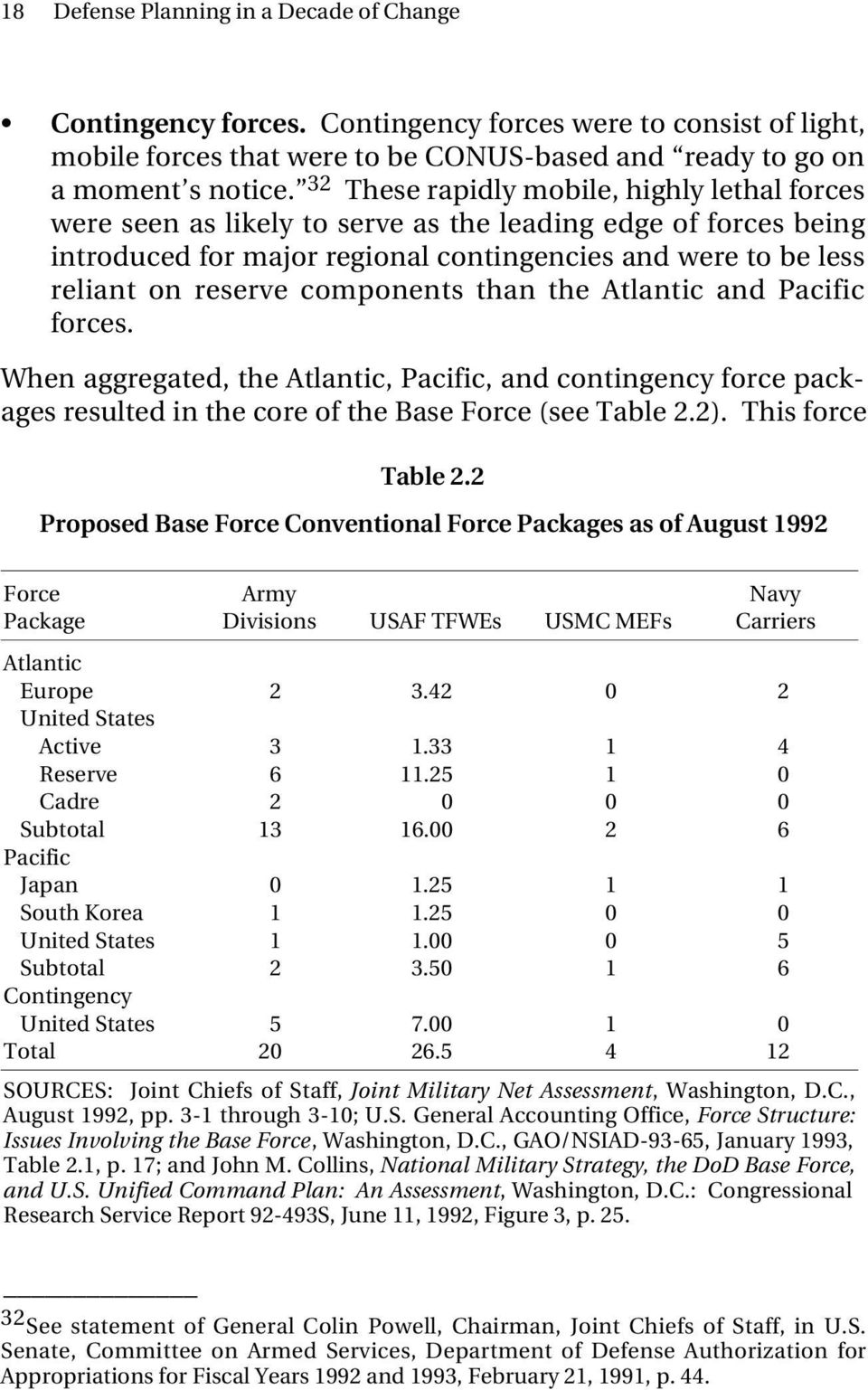 components than the Atlantic and Pacific forces. When aggregated, the Atlantic, Pacific, and contingency force packages resulted in the core of the Base Force (see Table 2.2). This force Table 2.
