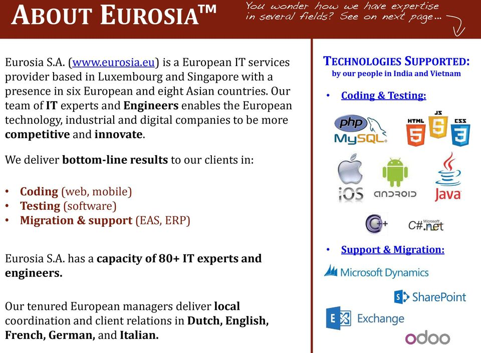 Our team of IT experts and Engineers enables the European technology, industrial and digital companies to be more competitive and innovate.