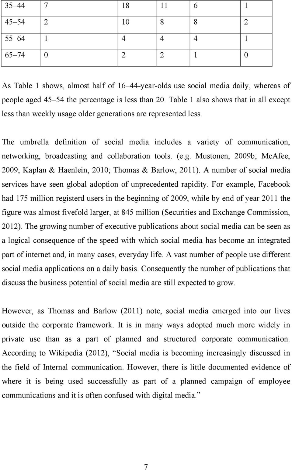 The umbrella definition of social media includes a variety of communication, networking, broadcasting and collaboration tools. (e.g. Mustonen, 2009b; McAfee, 2009; Kaplan & Haenlein, 2010; Thomas & Barlow, 2011).