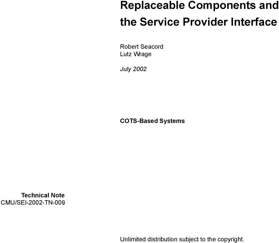 COTS-Based Systems Technical Note