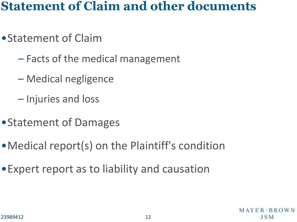 and loss Statement of Damages Medical report(s) on the