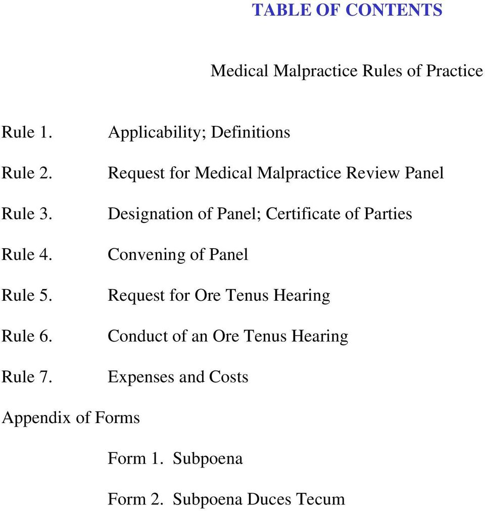 Applicability; Definitions Request for Medical Malpractice Review Panel Designation of Panel;