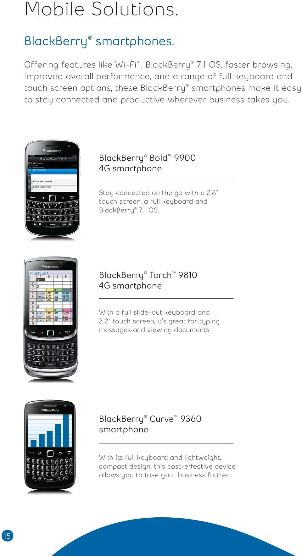 productive wherever business takes you. BlackBerry Bold 9900 4G smartphone Stay connected on the go with a 2.8 touch screen, a full keyboard and BlackBerry 7.1 OS.