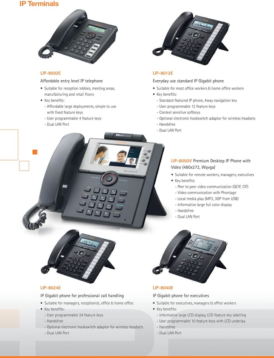 key - User programmable 12 feature keys - Context sensitive softkeys - Optional electronic hookswitch adaptor for wireless headsets - Handsfree LIP-8050V Premium Desktop IP Phone with Video (480x272,