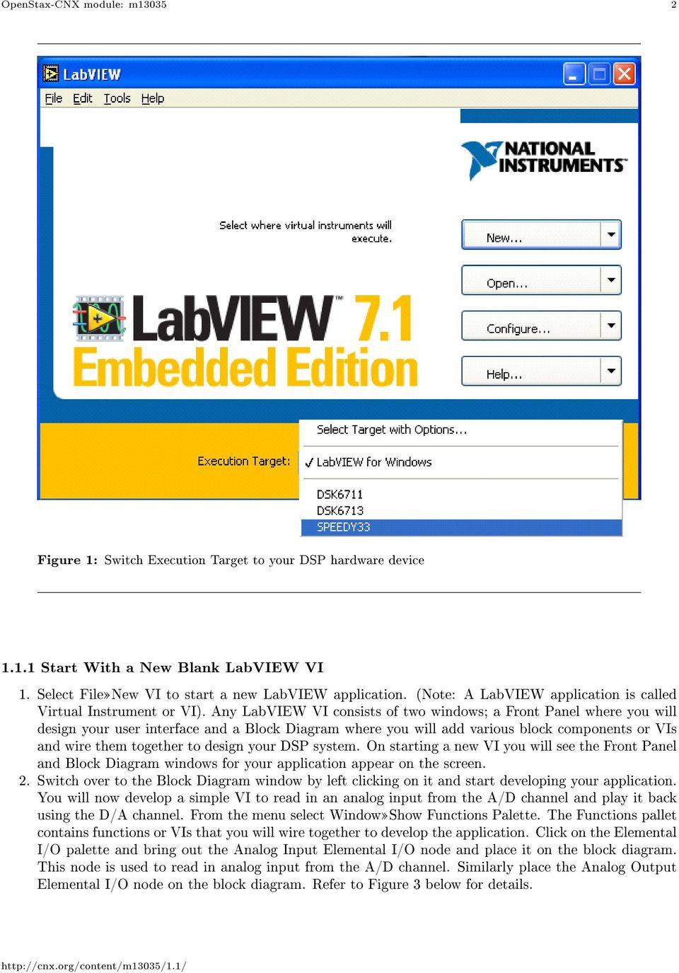 Any LabVIEW VI consists of two windows; a Front Panel where you will design your user interface and a Block Diagram where you will add various block components or VIs and wire them together to design