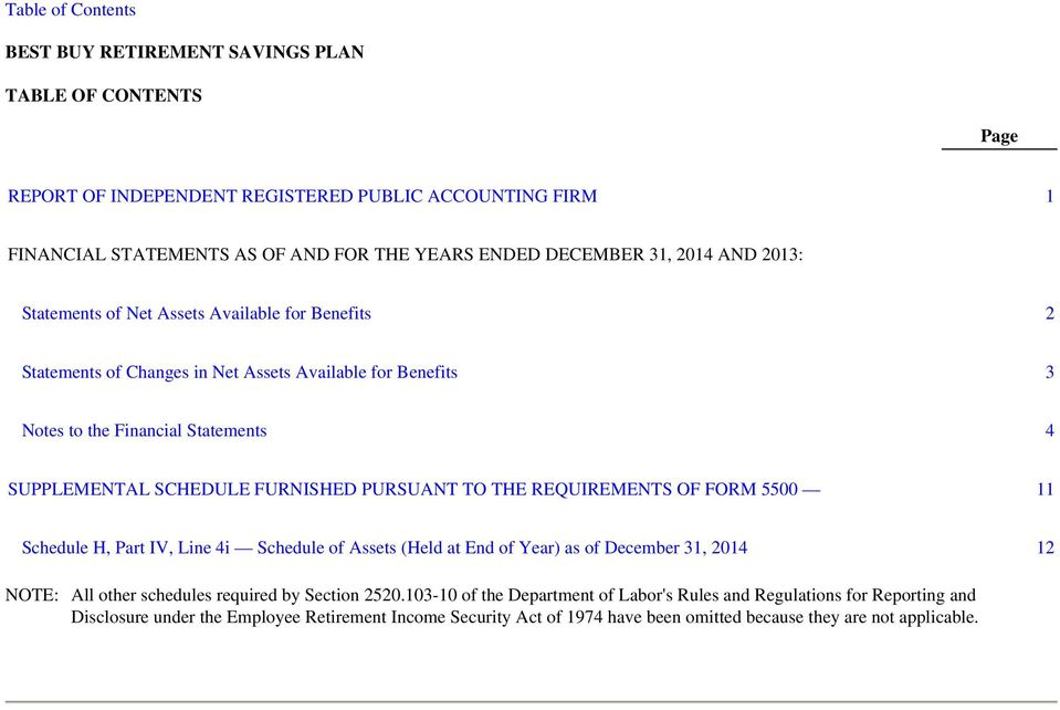 PURSUANT TO THE REQUIREMENTS OF FORM 5500 11 Schedule H, Part IV, Line 4i Schedule of Assets (Held at End of Year) as of December 31, 2014 12 NOTE: All other schedules required by Section